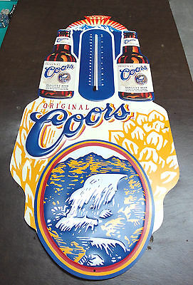"COORS ORIGINAL EMBOSSED METAL THERMOMETER / SIGN 12.5"" W x 32"" L 1996 WORKS-MINT"