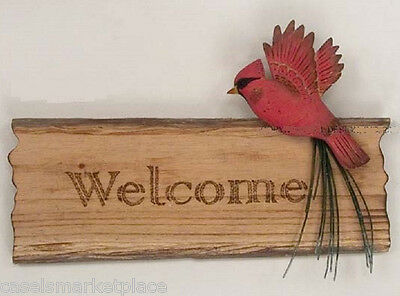 LODGE ART DESIGNS Cardinal Welcome Wood Wall Sign & Hanging Plaque