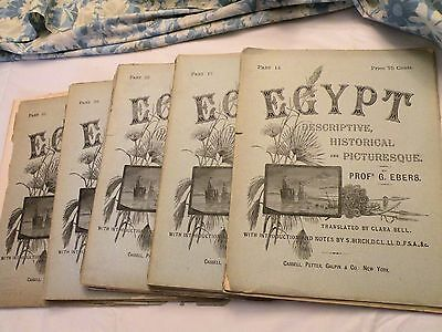 """1885, 1st ENGLISH ED, VOL 2, EBERS'  ILLUSTRATED HISTORY OF EGYPT, IN """"PARTS"""""""