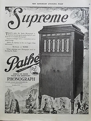 1920 Pathe Freres Phonograph Co Brooklyn NY Supreme in Tone Original Music  Ad