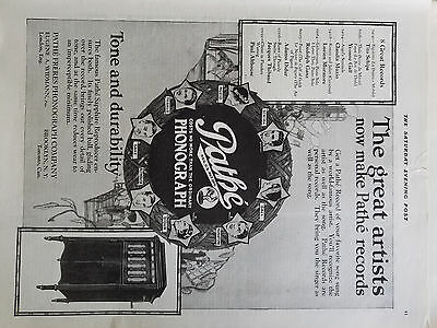 1920 Pathe Freres Phonograph Now Makes Records Tone Durability Music Ad