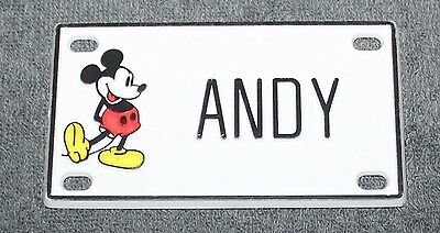 Vintage Walt Disney Prod. Mickey Mouse Name Andy Plastic License Plate