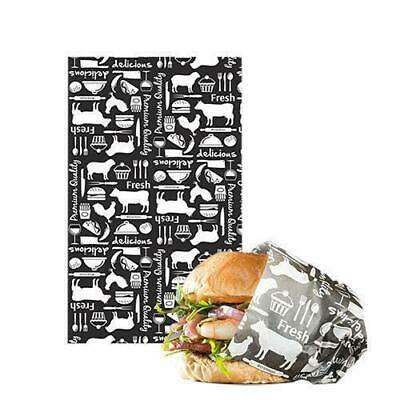 Greaseproof Paper Fresh Print Black & White 190x310mm Pkt 200 Cafe Burgers Chips