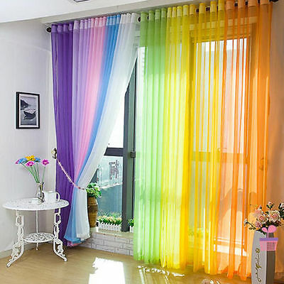 2 Home Decor Tulle Voile Window Drape Curtain Panel Divider Sheer Scarf Valances