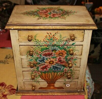 Lovely Shabby Chic Wood Jewelry Box Miniature Dresser-5 Drawers-Painted Flowers