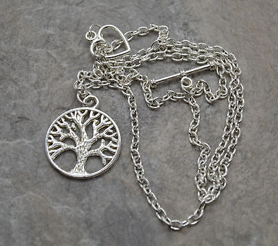 "Tree of Life pendant 18"" Silver plated with heart necklace"