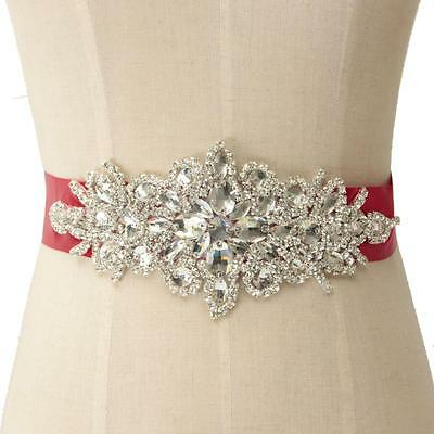 Vintage Crystal Rhinestones Wedding Dress Bridal Pearl Sash Belt Ribbon Tie New