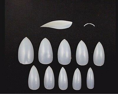20 100 500 Full Cover Fake Nails False Tips Curved Vampire Stiletto Pointed Tip