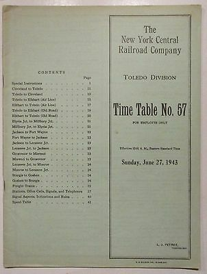 New York Central Railroad 1943 Employee Timetable -  Toledo Division