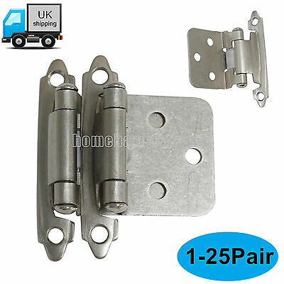 Satin Nickel Auto Stay Close Flush Mount Cabinet/Cupboard door hinges 1-25Pairs