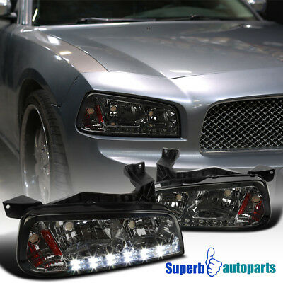 2006-2010 Dodge Charger Replacement Smoke LED Headlights Corner Signal Lamps