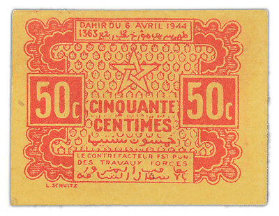 Morocco 50 Centimes P-41 1944 Wartime emergency issue