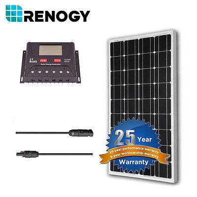 Renogy 100 Watt 12V Mono Solar Panel Bundle Kit Off Grid for RV Boat