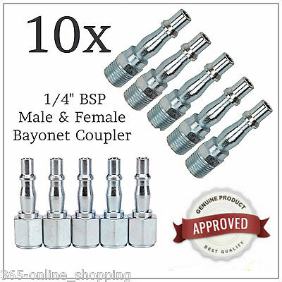 10Pc Air Line Compressor Fitting Bayonet Connector Set 1/4 Bsp Male/female Pack