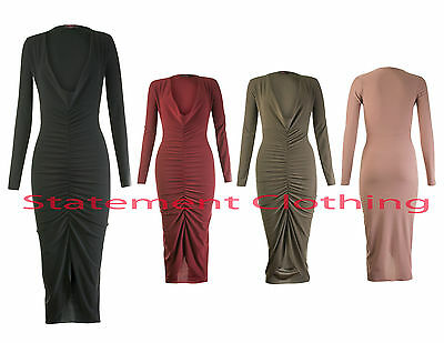 New Women's Ladies Cowl Neck Long Front Ruched Midi Dress