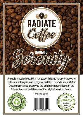 Radiate Serenity Decaf Mountain Water Coffee Beans