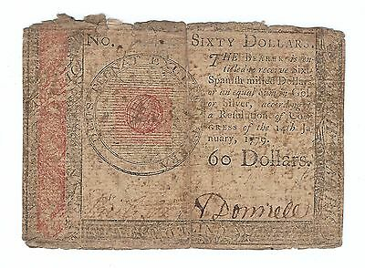 1779 Jan 14, Continental Currency Colonial Note $60 Sixty Dollar ~ Fine F
