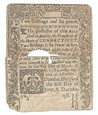 1780 Connecticut Colonial Currency Note Two Shillings Six Pence 2s 6d ~ Fine F