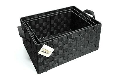 Set of 3 Woven Strap Hamper Storage Basket With Carry Handles