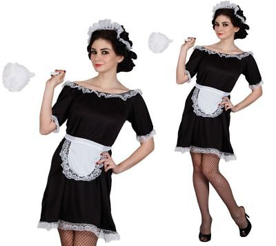 French Maid Costume Black White Waitress Fancy Dress Outfit Sizes 6 to 24
