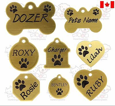 Brass Pet Tag Paw Dog Bone Heart Circle Octagon Hydrant Custom Details On Back