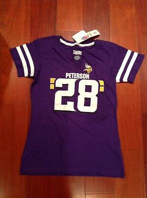 sports shoes a5b39 f5ec2 MINNESOTA VIKINGS JERSEY Tee T-Shirt Jersey Viking #28 Peterson Top Women's  S