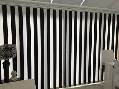 """BLACK & WHITE MADE TO MEASURE VERTICAL BLIND REPLACEMENT SLATS 89mm (3.5"""") WIDE"""