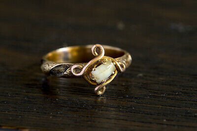 VERY RARE ANTIQUE ENGLISH 9K GOLD VICTORIAN MOURNING RING w/ MILK TOOTH & HAIR