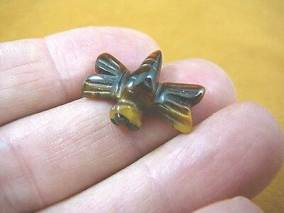 "Y-DRAG-503) 1"" brown tan flying Dragonfly gemstone FIGURINE gem carving insect"