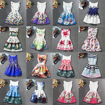 3-7T Toddler Kids Girls Princess Dress Floral Sleeveless Sundress Party Dresses