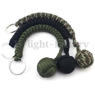 Monkey Fist Knot Paracord Defense Keychain Chain Keyring 550 Steel Ball Survival