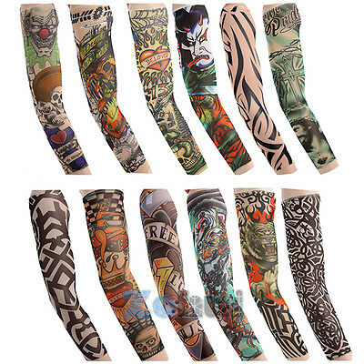 Men Cycling Bicycle Tattoo Cuff Arm Warmers Cuff UV Sun Protect Sleeve Cover UK