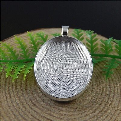 20pcs Antiqued Silver Ellipse Shape Alloy Cameo Base Pendant Jewelry Accessory