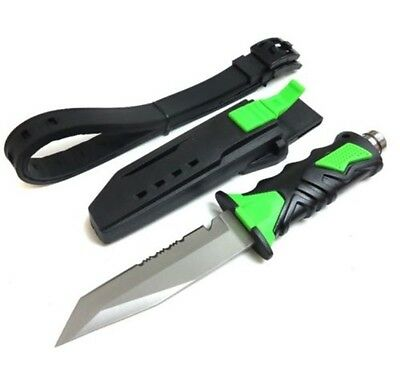GREEN Scuba Diving Knive Outdoor Rescue Diver Stainless Steel Leg Strap Straight