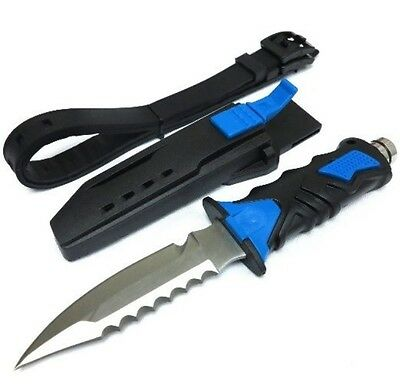 BLUE Scuba Diving Knive Outdoor Rescue Diver Stainless Steel with Leg Strap New