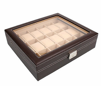 AXIS® Dark Brown PU Leather Watch Storage Box For 18 Watches
