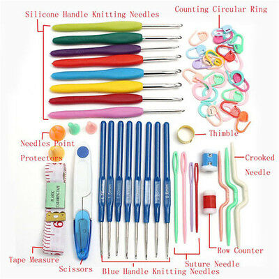 Crochet Hooks Knitting Needles Stitches Case Crochet Set Craft Tool Kit 16 Sizes