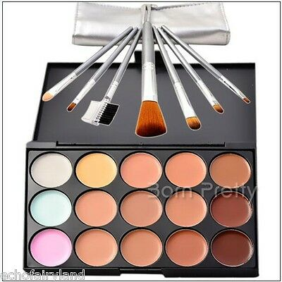 15 Colors Foundation Palette and 7 Makeup Brushes High Quality Concealer Contour