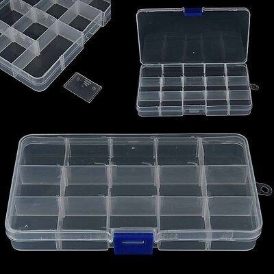 15Compartments Clear Plastic Storage Box Lure Jewelry Craft Organizer Case Boxes