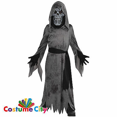 Childs Boys Black Ghastly Ghoul Ghost Spirit Fancy Dress Halloween Party Costume