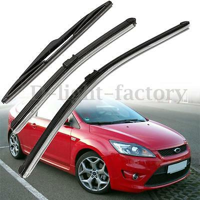 3x Front & Rear Windshield Windscreen Wiper Blades Set For Ford Focus MK2 1.6