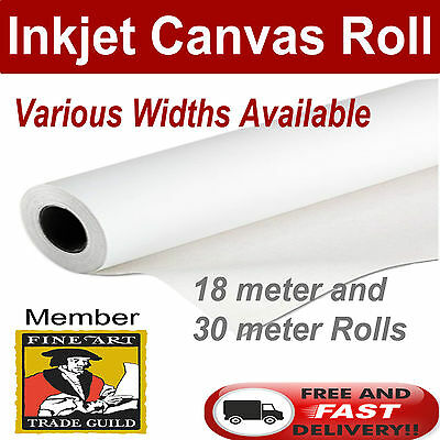 """Polyester Matte Inkjet Printer Canvas Roll 24"""" x 18m Other Sizes Available"""