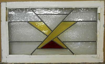 "OLD ENGLISH LEADED STAINED GLASS WINDOW TRANSOM Pretty Criss Cross 30"" x 18"""