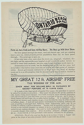 xRARE 1900 Early Airship Advertising Flyer Nichols Ontario Beach Chili NY