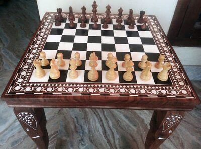 Chess Board Square Table Hand Carved Elephant Inlaid Work Rosewood TableFoldable