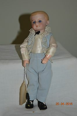 """vintage artist doll  bisque with glass eyes 9"""" 9 piece compo body"""