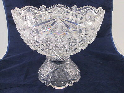 American Brilliant Cut Glass Large Punch Bowl on Stand