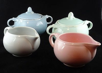 Four Assorted Taylor Smith Taylor Luray Pastel - 2 Creamers, 2 Sugar Bowls