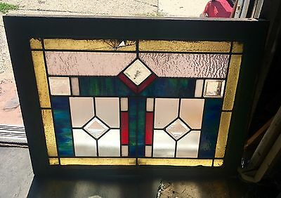 Rare Colored Deco Style American Leaded Glass Window For Restoring