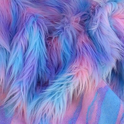 ' Pastel Puff ' - pastel pink, blue & lavender  - faux fur fabric - furaddiction